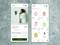 Cosmetic mobile concept clean marketplace cosmentic cart design typogaphy uxdesign uiuxdesign uiuxdesigner uidesign mobile ui fragrance pefume cards ui uiux ux ui