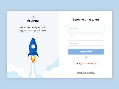 Asgard Analytics - Sign up ui research interface data dashboard app analytics
