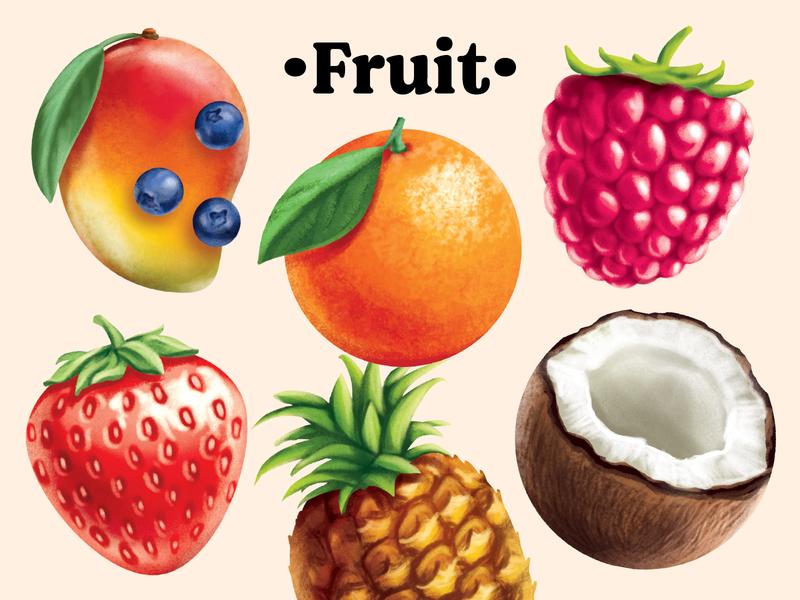 Retro Painted Fruit Illustration packaging fruit illustration retro painted