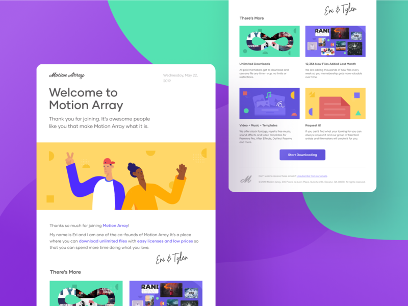 Motion Array - Welcome Newsletter vivid vibrant colorful stock video editing yellow purple figma vector typography illustration branding minimal clean design asset library email digital