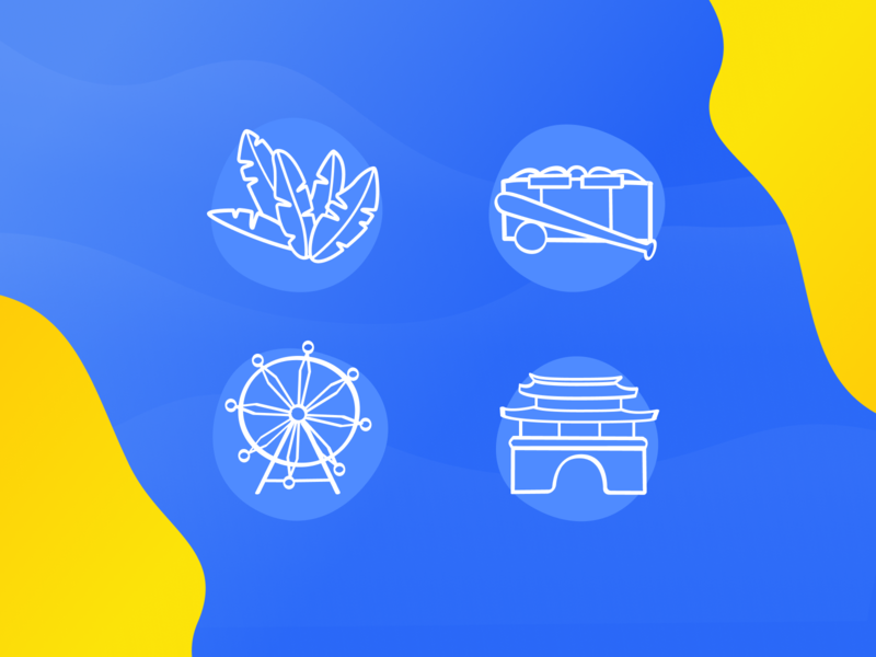Skyrock Projects - Branch Icons stroke fun art simple ink brush hand drawn icon website blue identity illustration vector branding minimal design clean