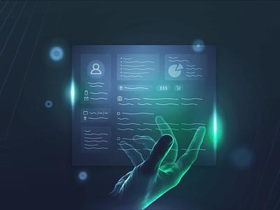 Contractbook - Blog Visuals compass maze labyrinth futuristic clean customer user contract green blue dark gradient persona ux illustration design