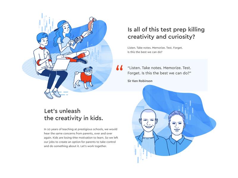 Creativity Illustrations web design www website citation class teachers creative school kids blue vector illustration clean design