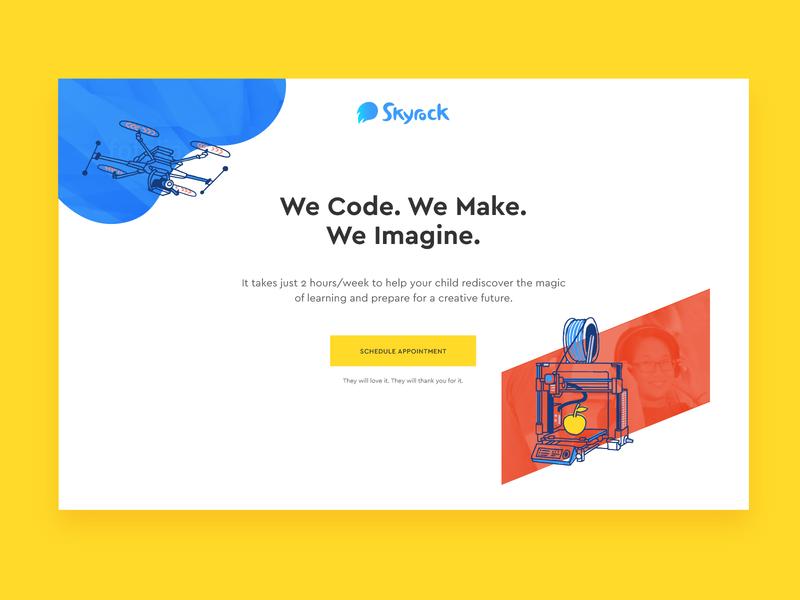 Skyrock Projects Homepage desktop web ui ux website vector blue typography contour doodle organic vibrant colorful minimal clean design illustration homepage header