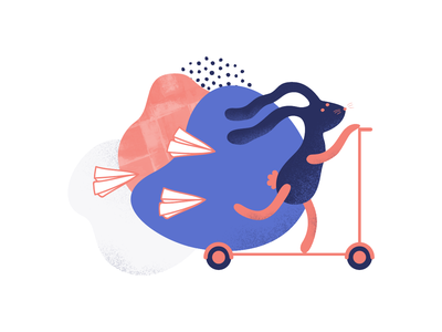 Fast customer service speed blobby blob texture scooter rabbit bunny pink blue clean minimal illustration design
