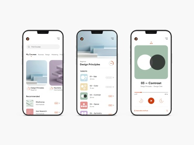 Modern Mobile Education Interface mobile apple podcast flow mockup iphone app education concept adobe user experience modern interface ux ui flat adobe xd minimal design