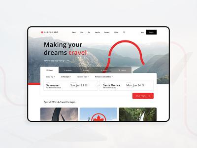Air Canada Homepage Update website canada travel booking flight mockup concept modern interface flat minimal ux ui adobe xd design