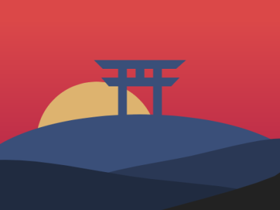 Tori Gate Sunset art vector design