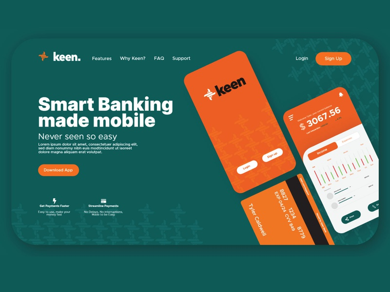 Keen Banking Landing Page & Logo Design web flat branding app icon minimal vector illustrator ui logo bank bank app banking