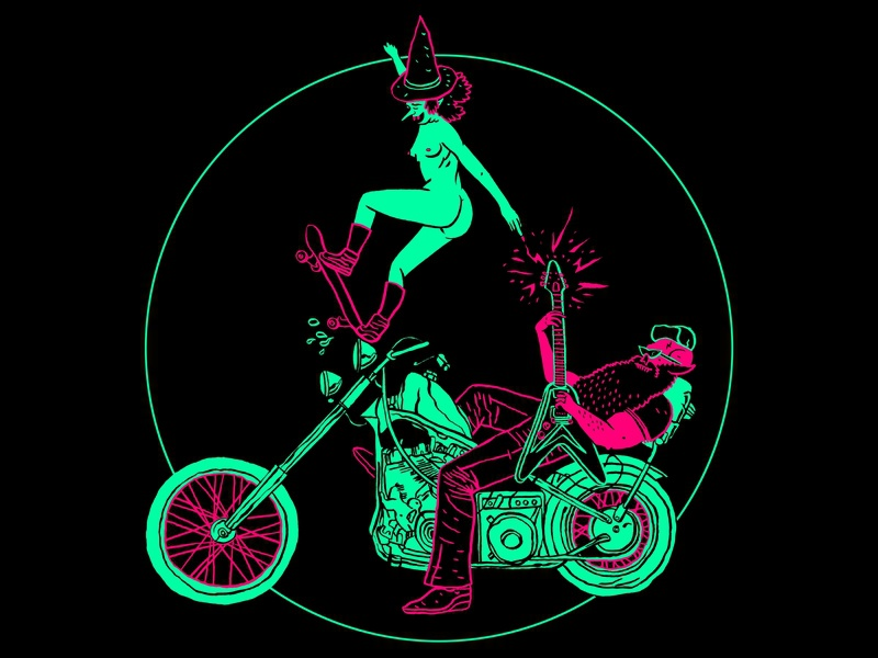 Witches Ride for Free doommetal stonermetal design shirtart motorcycle witch illustration