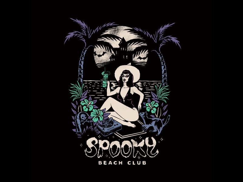 Spooky Beach Club vinyl cat tropical palm babe blackdesign blackshirt surf vamp goth summer beach handdrawn art vintage shirtdesign texture shirt design illustration