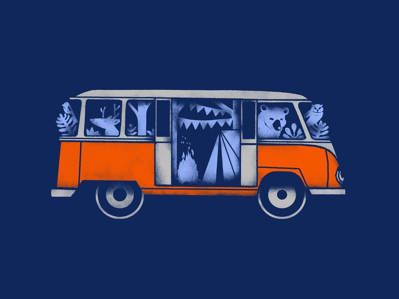 Animals on the Bus handdrawn art shirtdesign vintage shirt texture illustration camping creatures forest animals camp campers volkswagen bus