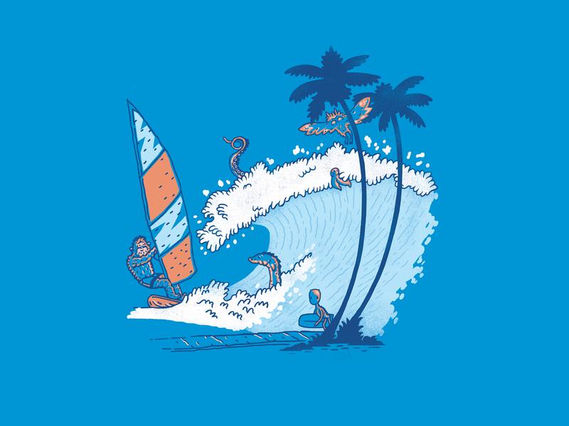 Crypto-Bunga wave surf bigfoot cryptozoology shirtdesign handdrawn art shirt vintage illustration