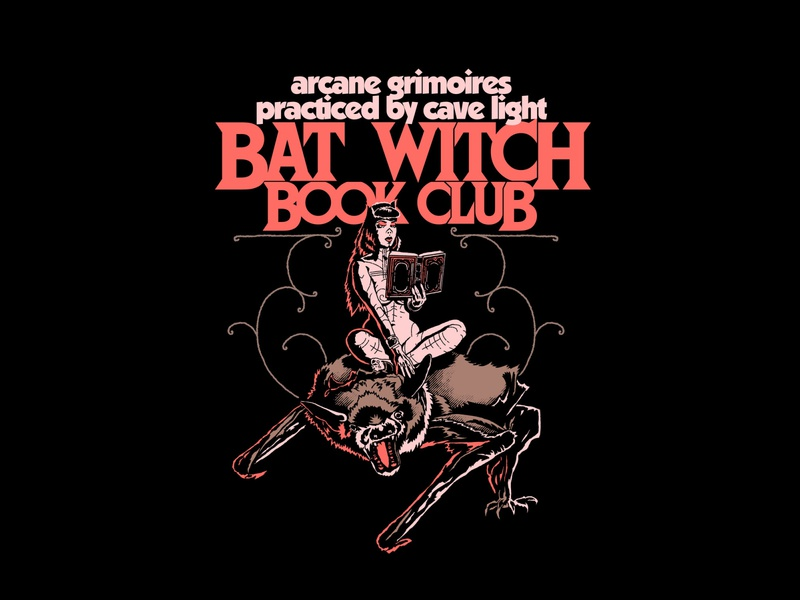 Bat Witch Book Club illustration metal art vintage handdrawn magic witchy bookclub witch best illusration book