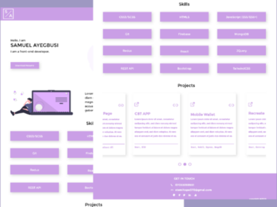 Front-end developer portfolio adobexd interface portfolio