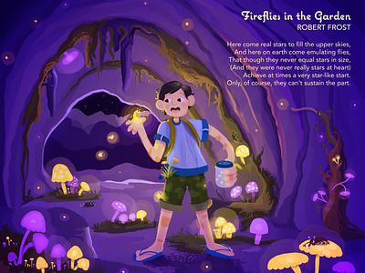 Fireflies in the Garden poetry summertime design typography art childrens book childrens illustration illustration