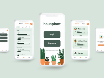 Hausplant - the all-in-one plant care assistant plants illustration minimal flat app design ui