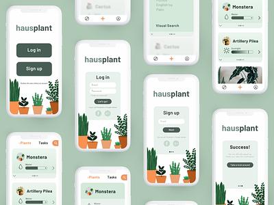 Hausplant Mobile Screens illustration app mobile app mobile plants minimal flat design ui