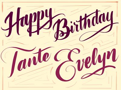 A simple birthday card procreate calligraphy