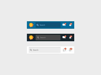 Mobile headers navigation messages notifications search bar color scheming header mobile sketch