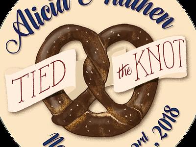 Pretzel sticker illustration wedding pretzel sticker
