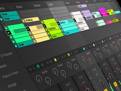 Ableton Live Concept ux ui layout interface flat design flat dark music software live ableton