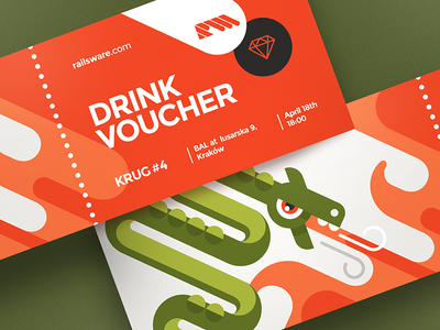Krug Drink Voucher drink vector illustration flat icon ticket design cracow krakow dragon character branding