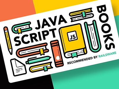 JAVA SCRIPT Books lettering icons icon tutorial typography book books vector illustration flat design branding