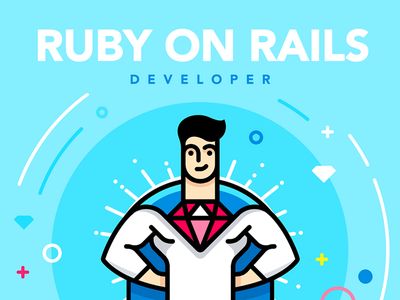 How to Hire Good Ruby on Rails Developer lettering icons icon tutorial typography engineer ruby vector illustration flat design branding