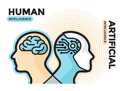 Human vs Artificial Intelligence branding design flat illustration vector typography icon icons lettering artificial intelligence intelligence artificial