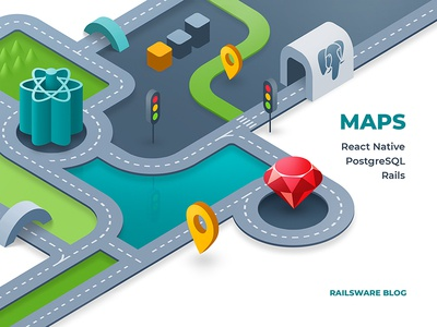 Maps with React Native, Rails, and PostgreSQL road pin ruby react native react postgresql rails maps map illustration flat