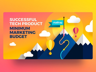 Successful Product successful success gradient typography air balloon clouds orange design illustration flat road mountain