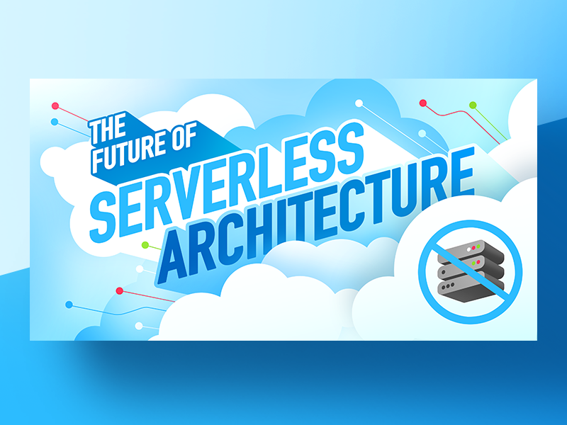 The Future of Serverless Architecture icon flat illustration design gradient typography future serverless server clouds vector