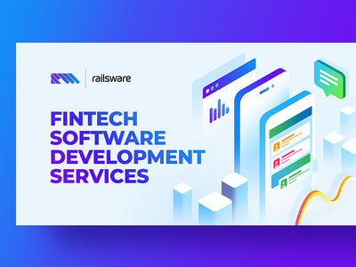 Finch Software finance mobile flat illustration design gradient typography android ios 3d fintech vector