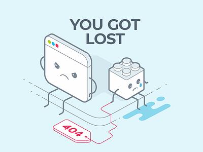 404 crying character window lego web 404 typography illustration flat design vector