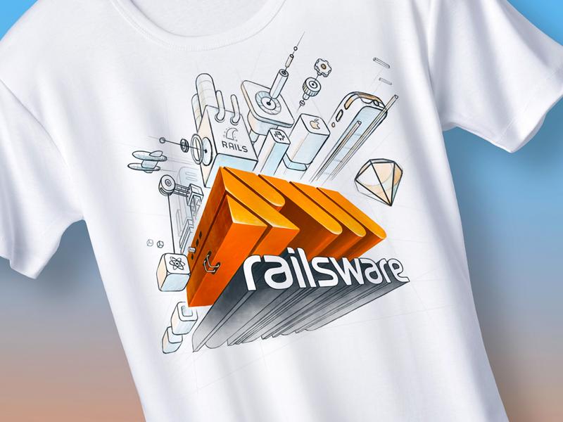 Railsware T-Shirt ui design web mobile app ux ios branding lettering logo ui illustration flat design