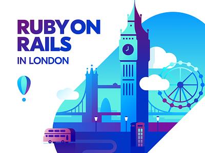 Bespoke Ruby on Rails Development in London town city bus ruby on rails ruby web london typography illustration flat design vector