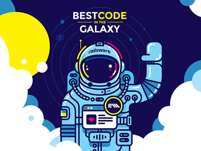 Dive Into the Railsware Space sun clouds react web space cosmonaut illustration flat design vector