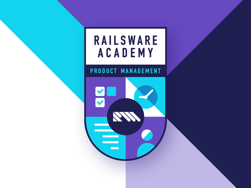 RW Academy Emblem For Product Management clock checklist learn youtube vector typography illustration flat product management academy arm design