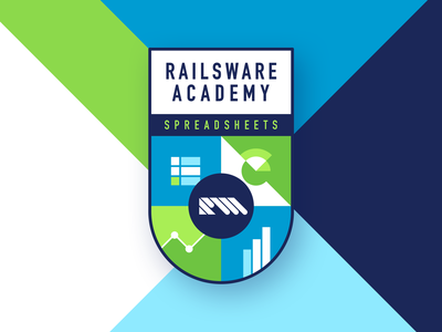RW Academy Emblem For Spreadsheets graph stats statistics learn youtube vector typography illustration flat product management academy arm design