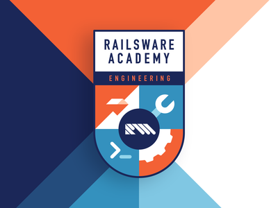 RW Academy Emblem For Product Engineering product ruby engineering learn youtube vector typography illustration flat product engineering academy arm design