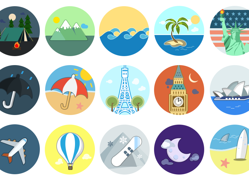 Homicons WIP flat icons wip travel paris london new york holiday