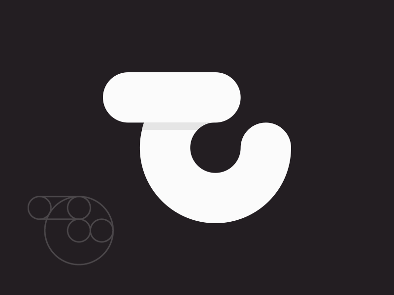 trach.co T logo circle eclipse round minimalistic white letter simple trach.co trach t