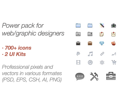 Power pack for web/graphic designers - 65% discount! colored minicons 16 px icons pack discount