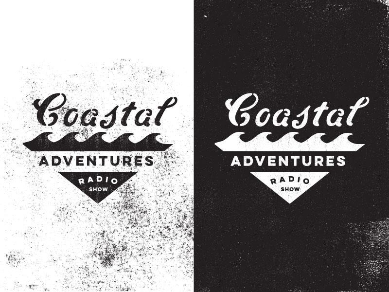 Coastal Adventures badge lockup typography type logo ocean outdoors adventure script stencil waves coast