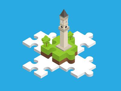 Wiki Weekend Tirana 2017 Isometric Illustration jigsaw puzzle wikipedia wiki clocktower tirana isometric