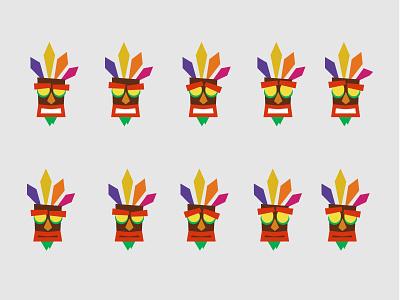 Aku Aku Emotions mask geometric illustration minimal crash bandicoot aku aku