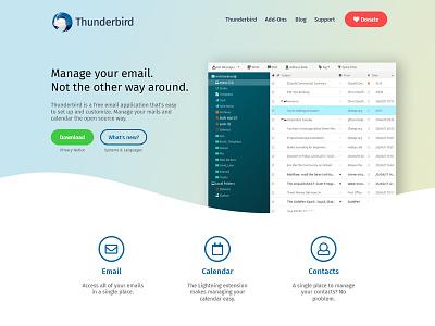 Thunderbird Website Redesign redesign landing page website thunderbird