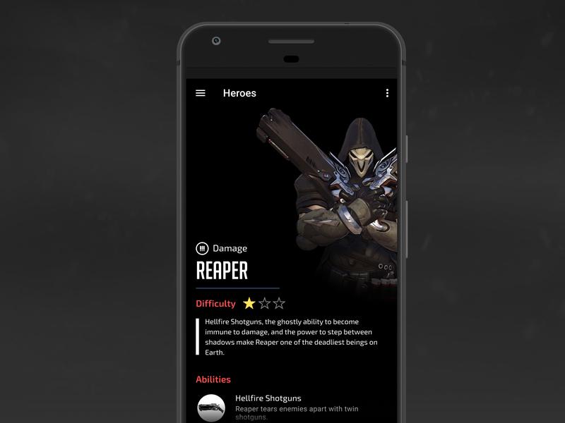 Overwatch Companion App UI Concept - Reaper
