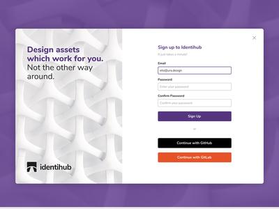 Identihub Sign Up Page Exploration